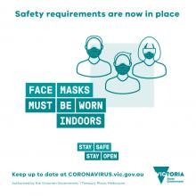 Social media tile for hospitality: Face masks must be worn indoors